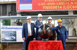 Steel cut for first short-sea LNG bunker vessel for Eesti Gaas at Damen Yichang Shipyard